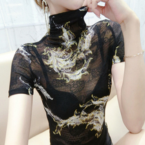 European station sexy top womens early autumn 2020 new womens print high-necked short-sleeved thin European lace shirt