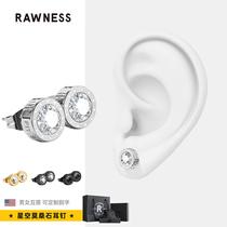 RAWNESS Mo Sang stone earrings mens niche black diamond earrings new couple earrings magnetic single ear clip tide