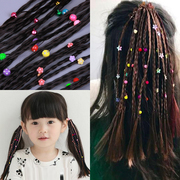 Children's wig pigtail girl hair headdress and fake baby dance girls hand rope shape mask