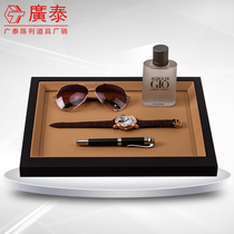 High-grade jewelry display jewelry box wooden square display tray props pu leather jewelry display Tray