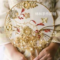 Spot Lin Lin Hand as original small red Book Chinese fan flower wedding bride Longfeng coat show wo Kim Hee married