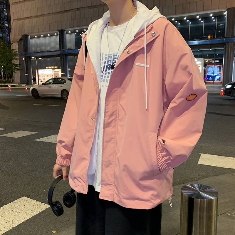 Hong Kong wind coat mens fake two pieces of spring hundred ins tide spring and autumn Japanese top Korean version of the trend handsome jacket