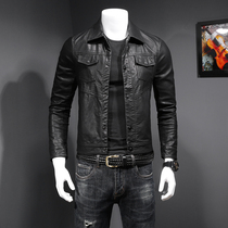 Autumn and winter mens locomotive soft leather mens leather Korean version of the trend slim handsome hundred young big size coat men