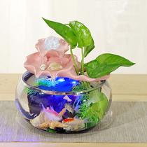 Циркуляция водных рыбных продуктов стеклянный фонтан воды потока небольшой аквариум украшения воды особенности потока водных финансовых украшений.