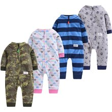 Wave-grain fleece warm baby jumpsuit style newborn baby out