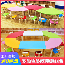 Kindergarten desks and chairs early education children Primary School students solid wood desks and chairs set art painting tutorial training table