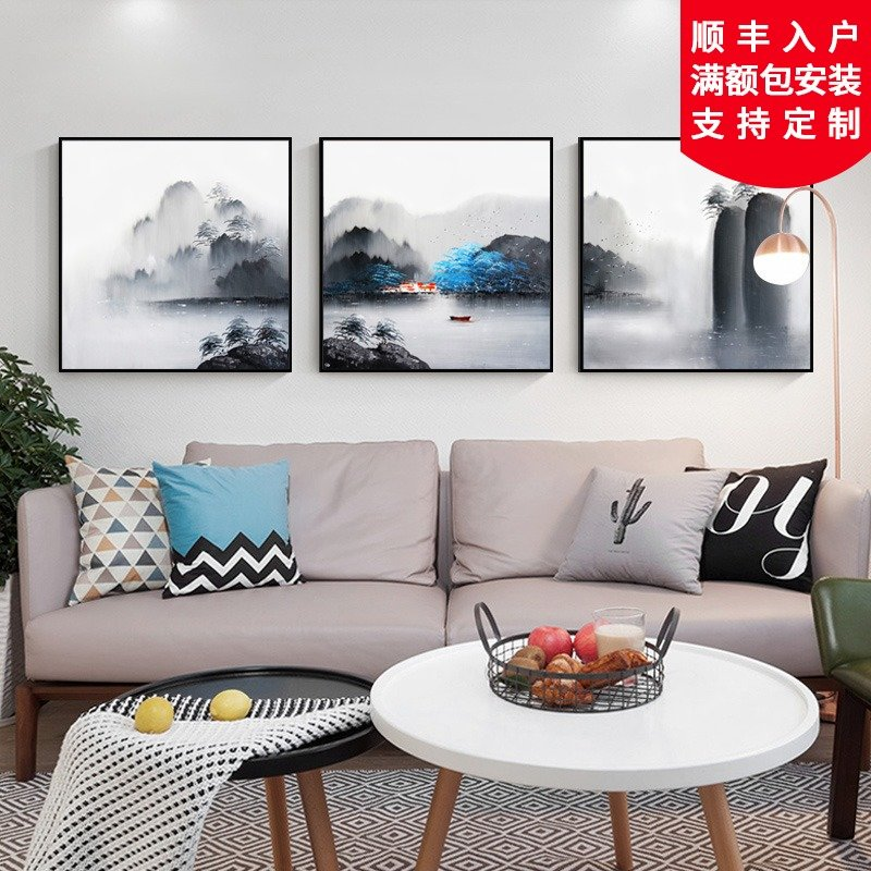 Pure hand-painted Abstract landscape customized oil painting modern simple living room hanging painting restaurant porch new Chinese decorative painting