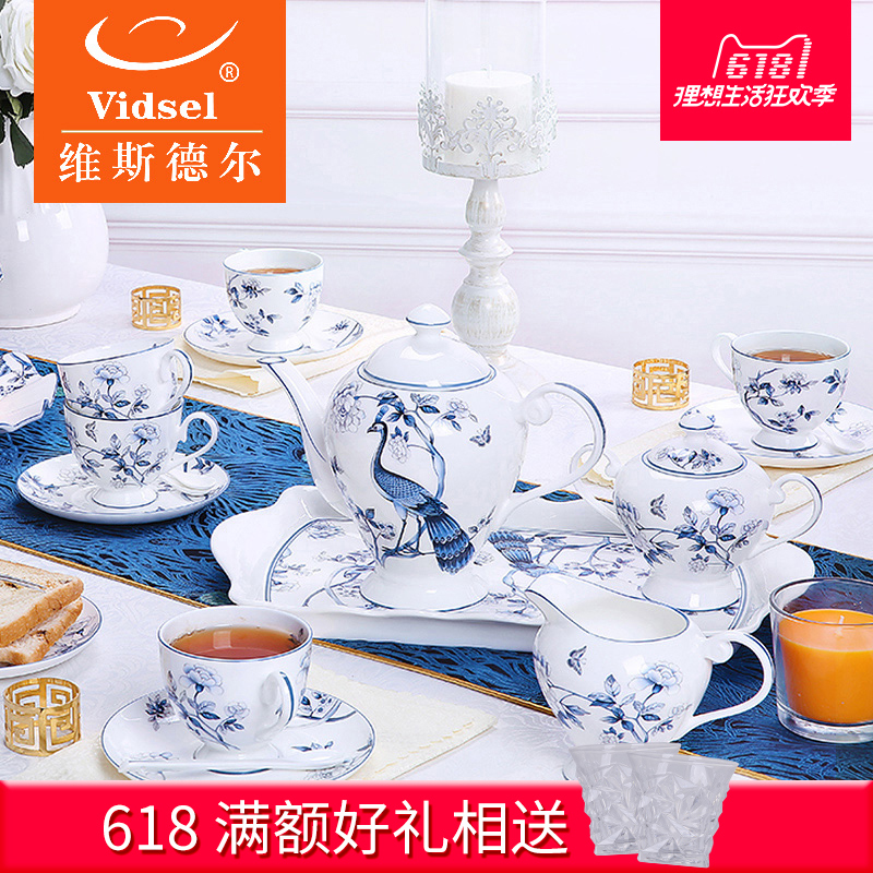 Vidsel Upscale European Tea Set With Tray Bone China Afternoon Tea Set Home English Coffee Mug Set
