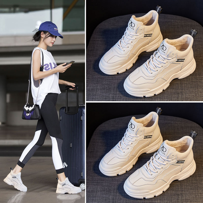 Trendy brand leather high-top white shoes women's 2020 new autumn and winter plus velvet warm old shoes thick-soled sports platform shoes