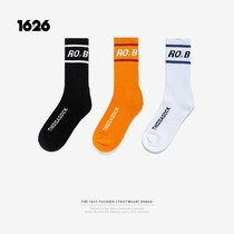 1626 trend INF street wild English letters embroidery tall skateboard sports socks men and women with the same paragraph socks