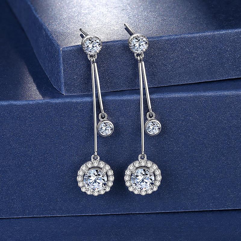 Poem Meromosan stone earrings pure silver 2020 new trend anti-allergy simple temperament earrings