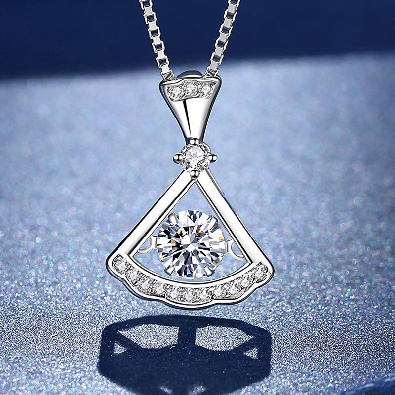 Semelo necklace women light luxury niche design sense pure silver new collarbone Mossan stone necklace simple