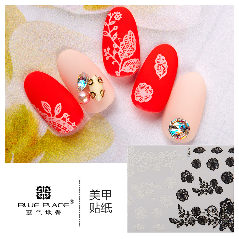 [The goods stop production and no stock]Nail Art Flower Sticker Nail Empty Sticker Nail Polish Glue DIY Sticker Nail Sticker 24 Black and White LC465-488