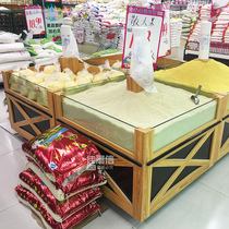 Jia Morning shin Rice bucket cabinet Rice bucket supermarket rice cabinet wooden sifang rice grain cabinet scattered container grain grain display shelf
