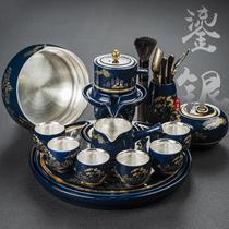 Kunde Gilt silver blue and white porcelain automatic Gongfu tea set Household small set Lazy anti-hot stone grinding ceramic tea making device