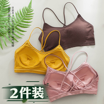 Beauty back underwear women without wire gather small bra inside the chest strap mesh red burst section bandeau one-piece bra