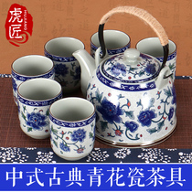 Jingdezhen ceramic teapot large qinghua porcelain beam pot filter household tea set cold kettle tea set