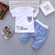 Boys' summer 2017 new Korean children children's short sleeved T-shirt suit 1-2-3-4 baby two piece tide