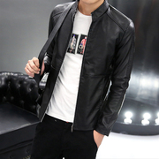 2017 new spring and autumn season men's leather jacket coat Korean version of the short paragraph PU leather jacket youth thin piece tide