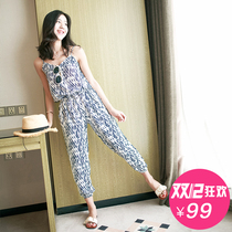 sling strapless resort beach culottes jumpsuit summer female feet nine points trousers chiffon jumpsuit beach pants
