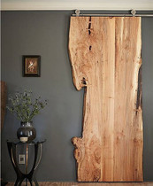 Solid wood barn Door custom full plate irregular natural side pine log large plate door plate sliding door hanging rail
