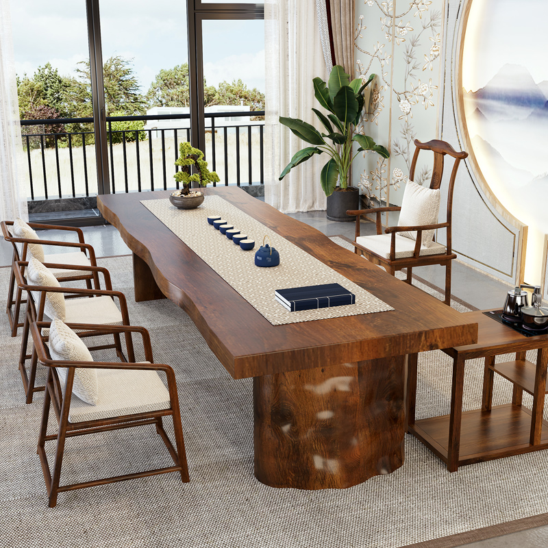Tea table solid wood tea table and chair combination table 1 meter 8 new Chinese Zen simple modern kung fu wood large board table