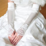 Bride Wedding Gloves Elbow Clubman red white lace wedding accessories Korean fingerless gloves.