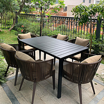 Outdoor tables and chairs outdoor courtyard tengcai leisure outdoor terrace garden yard balcony Nordic back rattan chairs tea table