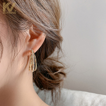 Earrings womens 2021 new temperament circle stud earrings Korean exaggerated sterling silver unique high-grade atmospheric ear jewelry trend