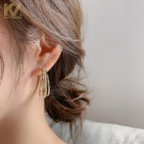Earrings female 2021 new temperament circle earrings Korean exaggerated sterling silver full diamond high-grade atmospheric ear jewelry tide