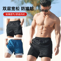 Swimming trunks mens anti-embarrassment loose quick-drying mens swimming trunks boxer swimsuit set Beach pants hot spring swimming equipment