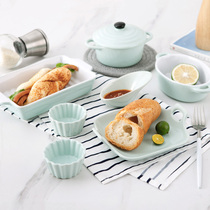 Creative Japanese baking ceramic tableware set shallow two-ear baking plate cake bowl suffrey bowl Oven microwave oven