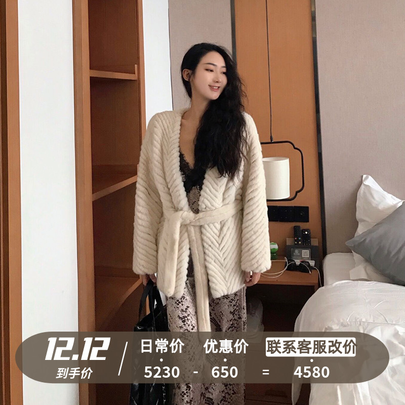 GY young fur coat ladies 2020 new style V-neck Haining mink fur coat female whole mink short western style