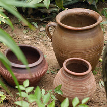 Red Pottery flowerpot pots large pot pottery pot large flower pot earth pottery flowerpot Old pile flowerpot multi-meat Big flowerpot