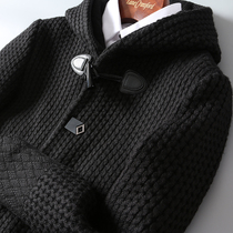 British winter thickened knitted wool craft mens medium and long hooded knitted wool coats DAF113
