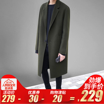 Korean version of the youth woolen double-sided Anglo-wind woolen velvet coat