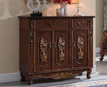 American country Shoe Cabinet solid wood retro painting Xuan Guan Cabinet living room cupboard large capacity four door locker dining cabinets
