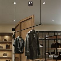 Mens shelves on the wall combination simple iron elevator suspension clothing shop hanger Ceiling horizontal bar hanger display frame
