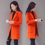 2017 spring and autumn in the new thin wool coat dress long suit collar wool coat girl slim tide