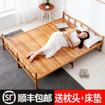 Bamboo Bed folding bed linen people double nap solid wood home simple bed 1 5M rental room bamboo adult hardboard