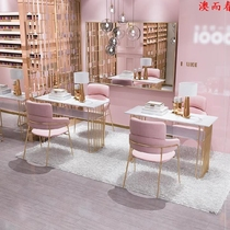 High-end nail art table single small display stand set simple tide marble manicure double pink with draw