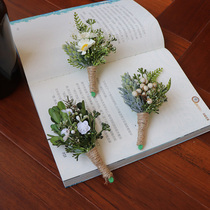 Forest department fresh corsage Nordic plant corsage bride groom wedding European photo brooch wedding supplies