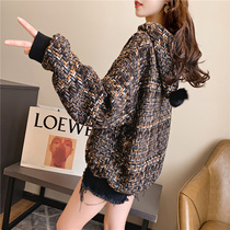 ins net red hooded sweater female lazy wind 2020 spring and autumn new Korean version loose casual plaid suit