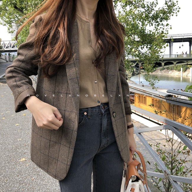 Curry small suit jacket womens 2020 autumn winter new medium-length version of leisure ancient thickened wool grid jacket