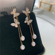 Saliya E39 925 sterling silver shell butterfly natural freshwater drops pearl ear wire long earring fairy