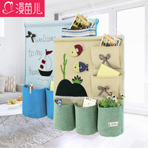 Fabric Hanging bag storage bag wall hanging simple creative multi-storey dormitory door behind wardrobe wardrobe storage finishing Bag