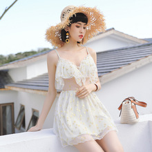 Swimsuit female bubble hot spring conservative slimming belly sexy 2018 new sling mesh mesh one-piece skirt large size swimwear