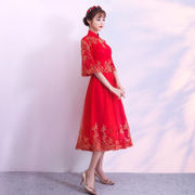 The bride toast served 2017 new fall back to marry women in long red dress dress in winter