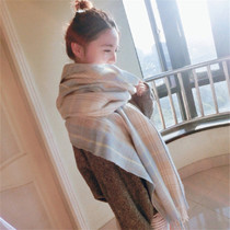 2016 autumn cashmere Plaid scarves ladies Japanese Mori girl warm thick long fringed shawls dual-use