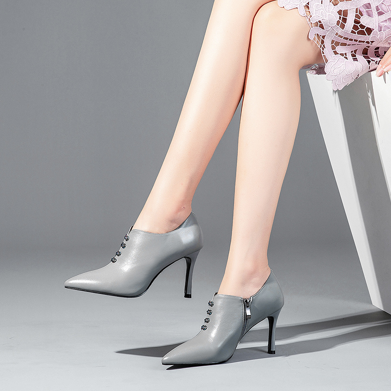 High-heeled leather pointed deep mouth single shoes female 2018 autumn new sexy fashion wild stiletto women's shoes four seasons shoes